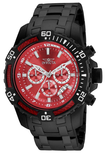 Invicta 24857 Men's Pro Diver Chronograph Red Dial Black IP Steel Bracelet Watch