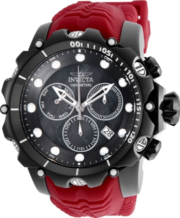 Invicta Men's Chronograph Dive Watch - Venom Black MOP Dial Red Strap | 26247