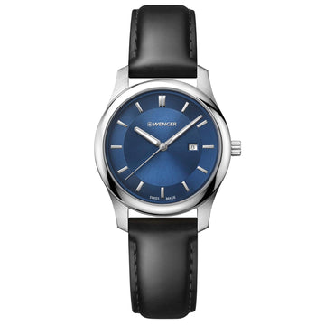 Wenger 01.1421.112 Women's City Classic Swiss Quartz Black Leather Strap Blue Sunray Dial Date Watch