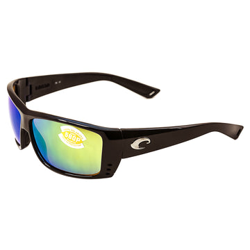 Costa Del Mar AT11OGMP Men's Cat Cay Polarized Plastic 580P Green Mirror Lens Shiny Black Frame Sunglasses