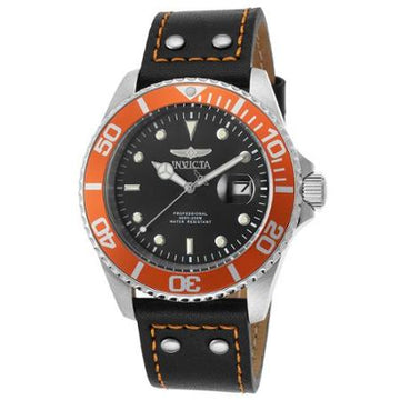 Invicta Men's Black Leather Strap Watch - Pro Diver Orange Accented Bezel | 22071