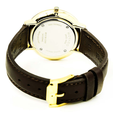 Movado 0607092 Women's Ultra Slim Swiss Yellow Gold Steel Chocolate Brown Strap Blue Dial Watch