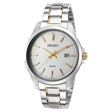 Seiko SUR157P1 Men's Neo Classic Silver Dial Two Tone Stainless Steel Bracelet Watch