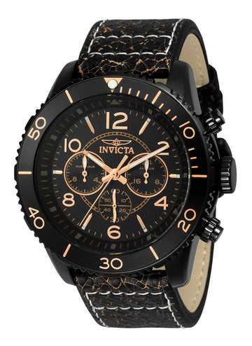 Invicta Men's Leather Strap Quartz Watch - Aviator Dual Time Black Dial | 24554