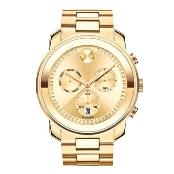 Movado Men's Chronograph Watch - Bold Gold Dial Yellow Gold Steel Bracelet | 3600485