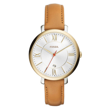Fossil ES3737 Jacqueline Women's White Dial Brown Band Watch