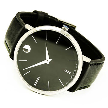 Movado 0607086 Men's Ultra Slim Black Leather Strap Swiss Quartz Black Dial Watch
