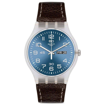 Swatch SUOK701 Men's Originals Blue Dial Brown Leather Strap Watch