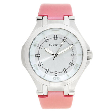 Invicta 21758 Women's Wildflower Silver Dial Pink Satin & Leather Strap Crystal Watch