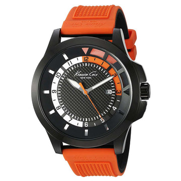 Kenneth Cole 10022294 Men's Transparency Black Dial Orange & Black Silicone Strap Watch