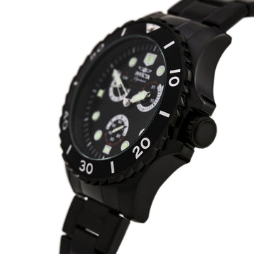 Invicta 7052 Men's Black Steel Bracelet Quartz Signature II Black Dial Day-Date Watch