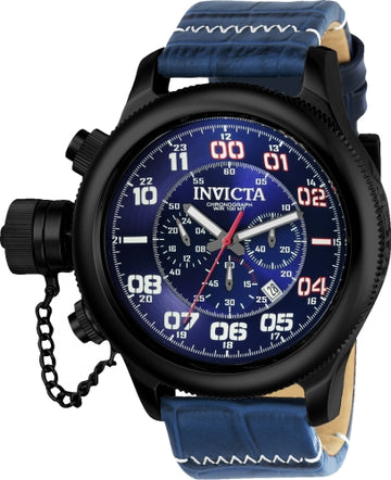 Invicta 22290 Men's Russian Diver Blue Dial Blue Leather Strap Chronograph Lefty Watch