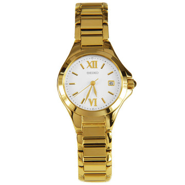 Seiko SXDC18P1 Women's Dress Date White Dial Yellow Gold Steel Bracelet Watch