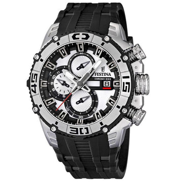 Festina F16600-1 Men's Black Rubber Band Quartz Bike Chrono Black-Silver Dial Date Watch