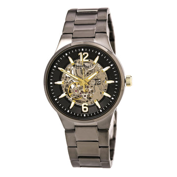 Caravelle 45A137 Men's Gunmetal Steel Bracelet Semi-Skeleton Dial Automatic Watch