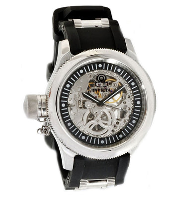 Invicta 1843 Men's Steel & Polyurethane Bracelet Mechanical Russian Diver Silver Skeleton Dial Watch