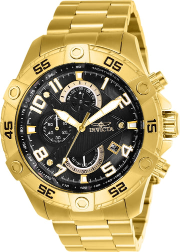 Invicta Men's Chronograph Watch - S1 Rally Black Dial Yellow Steel Bracelet | 26097