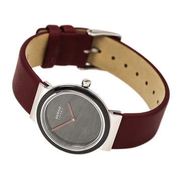 Bering 10729-642 Women's Ceramic Black Dial Red Leather Strap Watch