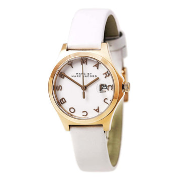 Marc By Marc Jacobs Women's White Dial Rose Gold Steel White Leather Strap Watch | MBM9057