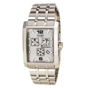 Citizen AT0910-51A Men's Largo Silver Dial Stainless Steel Eco-Drive Chronograph Watch