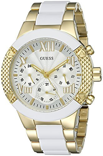 Guess U0770L1 Women's Silicone & Yellow Steel Bracelet White Dial Watch