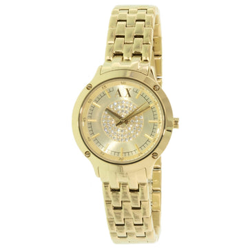 Armani Exchange AX5417 Women's Gold Tone Dial Yellow Gold Steel Bracelet Crystal Watch