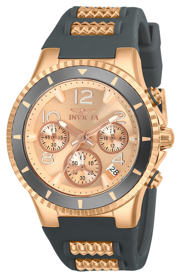 Invicta 24189 Women's BLU Rose Gold Dial Steel & Grey Silicone Strap Chronograph Watch