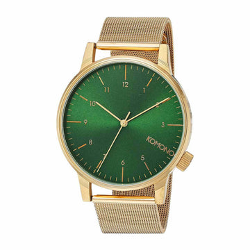 Komono Unisex Mesh Bracelet Watch - Winston Royale Green Dial Yellow Steel | KOM-W2355