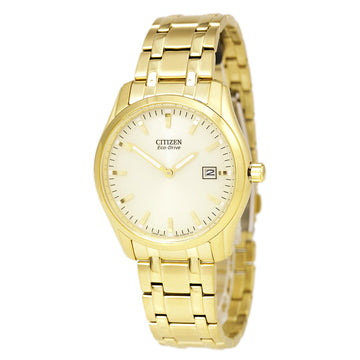 Citizen AU1042-53P Men's Dress Champagne Dial Eco-Drive Yellow Gold Plated Steel Bracelet Date Watch