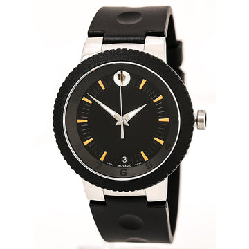 Movado 0606926 Men's Sport Edge Black Rubber Strap Black Dial Swiss Date Watch