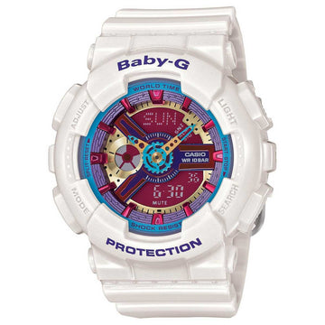 Casio BA112-7A Women's White Resin Strap Quartz Baby-G Red Dial World Time Ana-Digital Watch