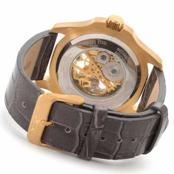 Invicta 17261 Men's Specialty Grand Mechanical Black & Gold Skeleton Dial Grey Leather Strap Watch