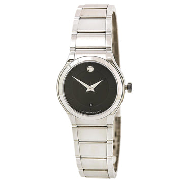 Movado 0606493 Women's Quadro SS Bracelet Black Dial Swiss Watch