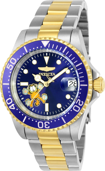 Invicta 24862 Men's Garfield Character Blue Dial Two Tone Bracelet Automatic Dive Watch