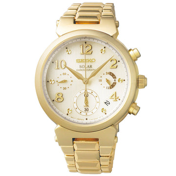 Seiko SSC858 Women's Core Solar Chronograph Champagne Dial Yellow Gold Steel Bracelet Watch