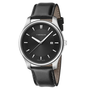 Wenger 01.1441.101 Men's City Classic Black Dial Black Leather Strap Watch
