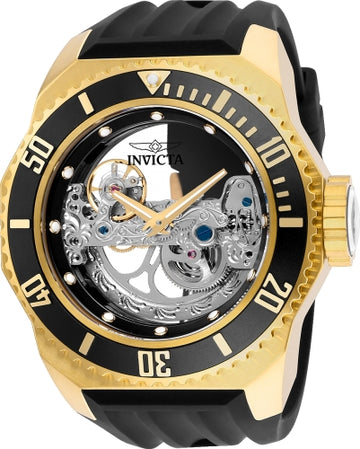 Invicta Men's Automatic Watch - Russian Diver Silver Skeleton Dial Black Band | 25625