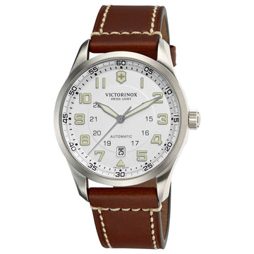 Swiss Army 241505 Men's AirBoss Automatic Silver Dial Brown Leather Strap Watch