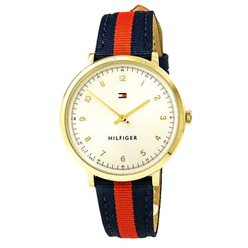 Tommy Hilfiger 1781766 Women's Ultra Slim Sport Silver Dial Nylon & Leather Strap Watch