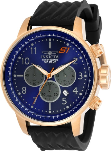 Invicta 23817 Men's S1 Rally Blue Dial Black Silicone Strap Chronograph Watch