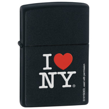 Zippo 24798 I Love NY Black Matte Powdercoat Classic Windproof Lighter
