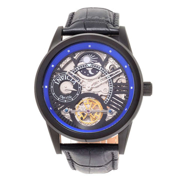 Invicta 25262 Men's Objet D Art Automatic Skeleton Dial Black IP Steel Black Leather Strap Watch