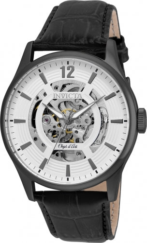 Invicta 22597 Men's Objet D Art Automatic White & Silver Skeleton Dial Black Leather Strap Watch