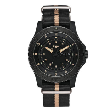 Traser Men's Strap Watch - P66 Sand Black Dial Black & Rose Nylon Dive | 100232