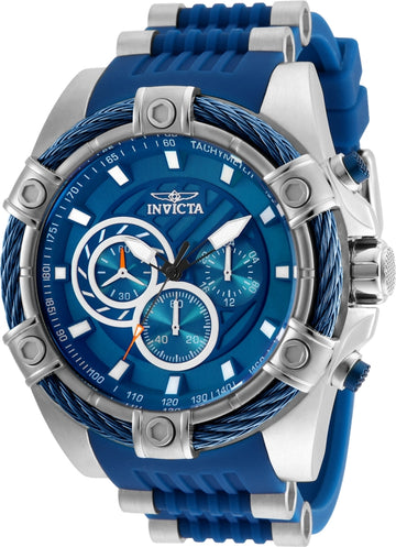 Invicta Men's Chronograph Watch - Bolt Blue Polyurethane & Steel Strap | 25524