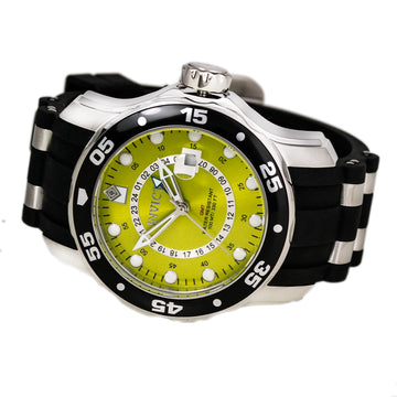 Invicta Men's Steel & Polyurethane Strap GMT Watch - Pro Diver Yellow Dial | 6988