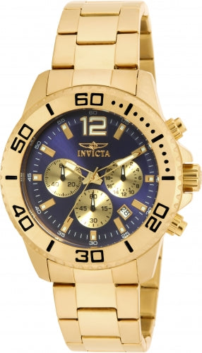 Invicta 17402 Men's Pro Diver Blue Dial Gold Tone Steel Bracelet Chronograph Watch