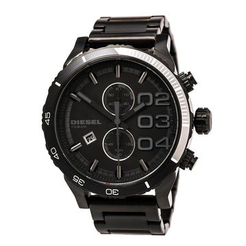 Diesel DZ4326 Men's Black Steel Bracelet Quartz Double Down Chrono Black Dial Watch