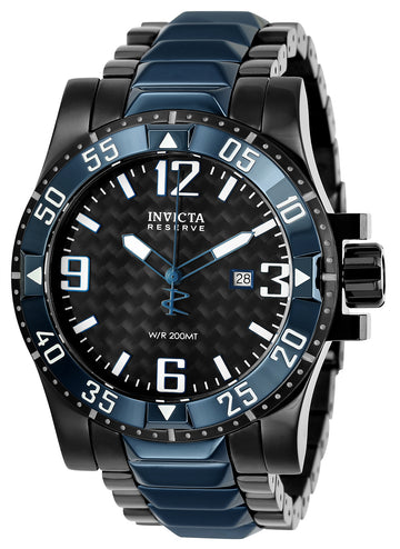 Invicta 25064 Men's Excursion Reserve Black Carbon Fiber Dial Two Tone Steel Bracelet Dive Watch