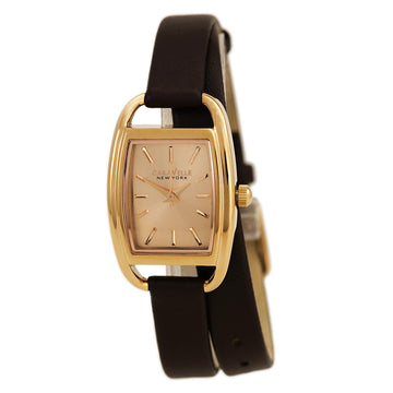 Caravelle 44L123 Women's New York Brown Leather Band Rose Gold Dial Quartz Watch